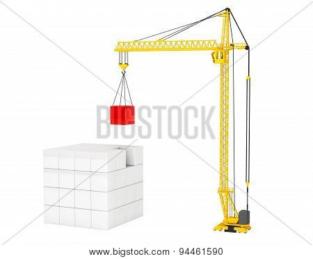 Construction Of Cubes By Yellow Tower Crane