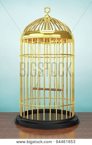Old Style Photo. Golden Bird Cage