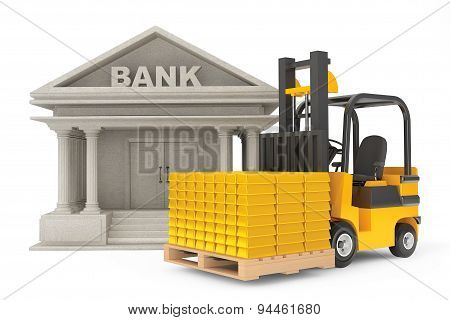 Forklift Truck With Stacked Golden Bars Near Bank Building