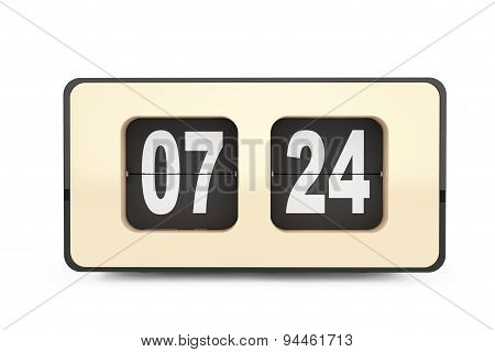 Vintage Flip Clock. 3D Rendering