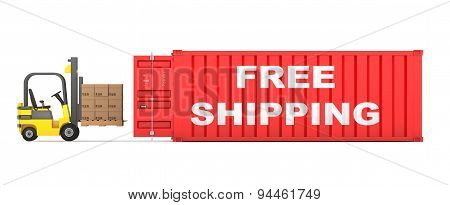 Forklift Loaded Cardboard Boxes In Free Shipping Container