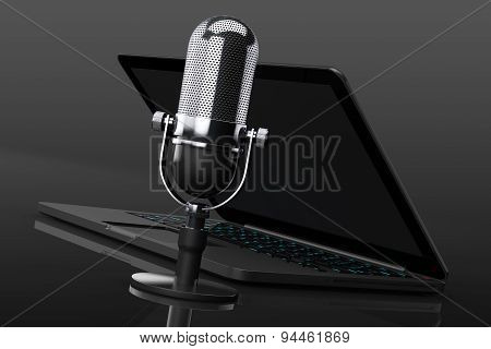 Retro Microphone With Laptop