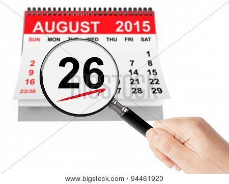 Women's Equality Day Concept. 26 August 2015 Calendar With Magnifier