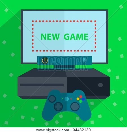 Modern game console green background