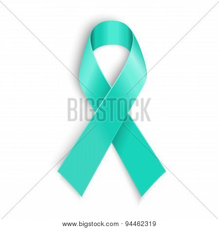 Teal ribbon symbol of scleroderma, ovarian cancer, food allergy, tsunami victims, kidney disease, se