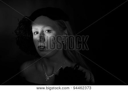 Film Noir Portrait of Glamorous Woman