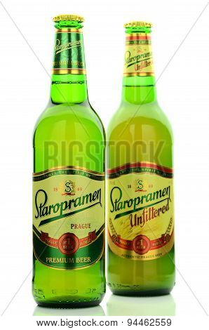 Staropramen beer isolated on white background