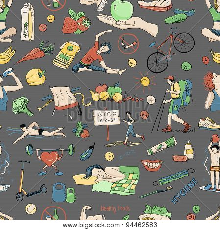 Colored seamless pattern with healthy lifestyle icons
