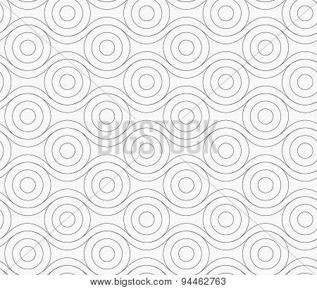Gray Circles Touching Wavy Lines