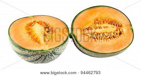 Ripe Melon Cantaloupe Slices Isolated On White Background