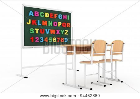 Classroom With Blackboard And Desk