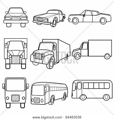 Set icons symbols car, truck, bus