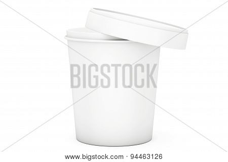 White Food Plastic Tub Bucket Container For Dessert, Yogurt, Ice Cream And Sour Sream