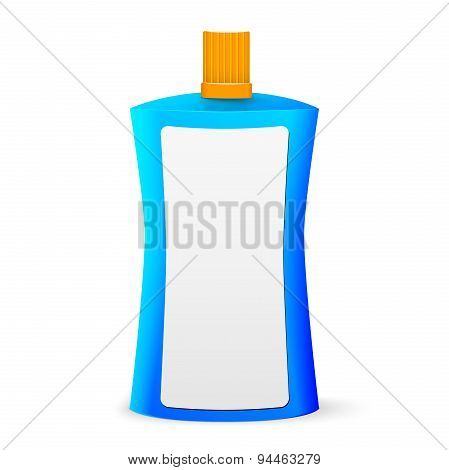 Cosmetic Or Hygiene Blue Lid Plastic Bottle Of Gel, Liquid Soap, Lotion, Cream, Shampoo