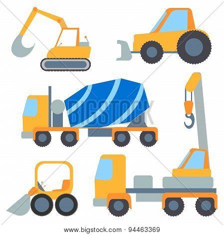 Set flet cars, tractor carrier, concrete mixer, excavator, bulldozer, crane