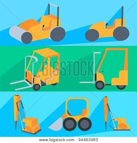 Set flet construction machinery. Roller-stacker, forklift, drill rig, bulldozer