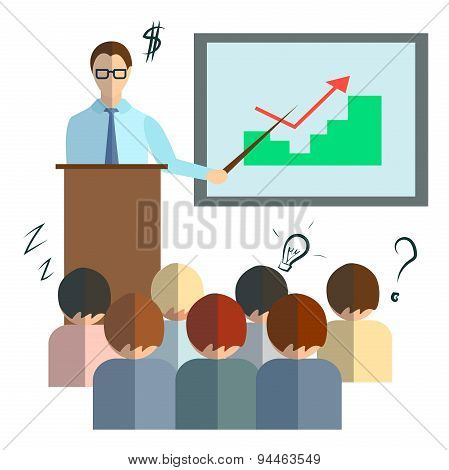 Businessman speech infographics