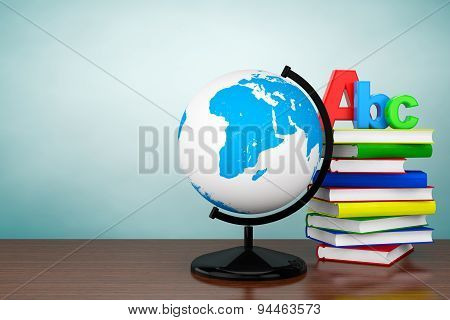 Old Style Photo. Books With Abc Sign And World Desktop Globe