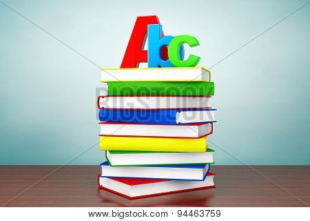 Old Style Photo. Books With Abc Sign