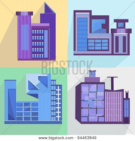 Flat set houses, buildings, architecture, building, city