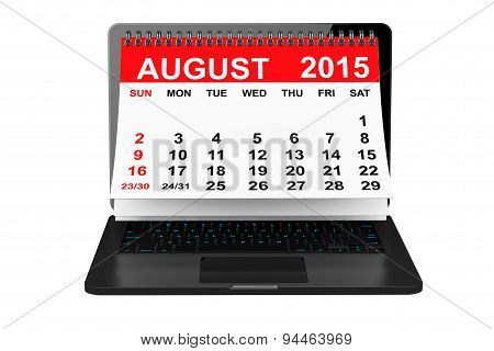 August 2015 Calendar Over Laptop Screen