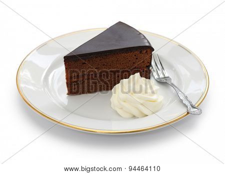 homemade sachertorte, Austrian chocolate cake isolated on white background