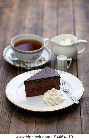 homemade sachertorte, Austrian chocolate cake and tea