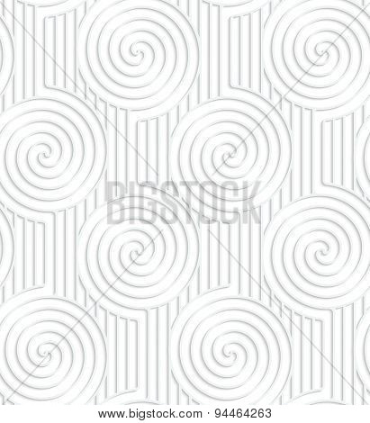 Paper White Spirals On Continues Lines