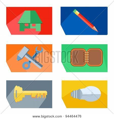 Icons house, pencil, tools, key, lightbulb, notebook