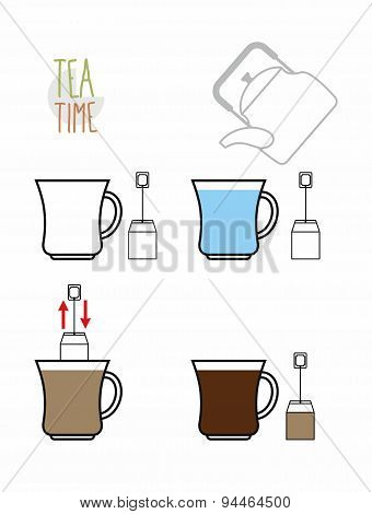 Instruction tea. Infographics steps to make tea from the bag. Vector illustration.