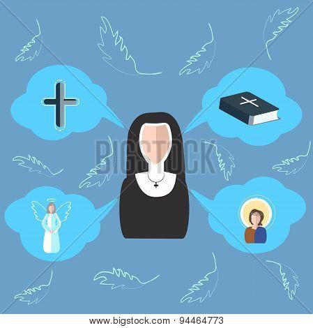 Nun cross, bible, angel, icon, clouds