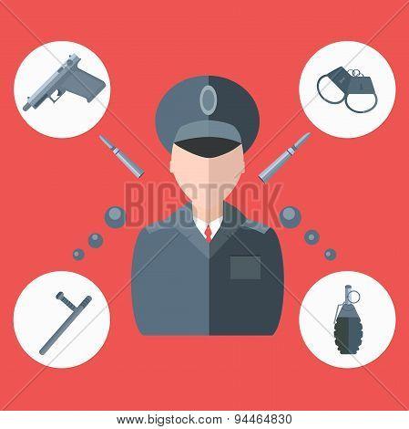 Police baton, gun, handcuffs, grenade