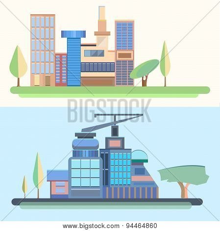 City, trees, houses, buildings, architecture, city