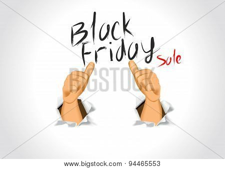 black friday sale and thumbs up