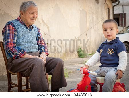 Italian Grandfather And Grandson