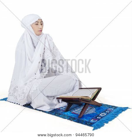 Muslim Woman Praying With Koran