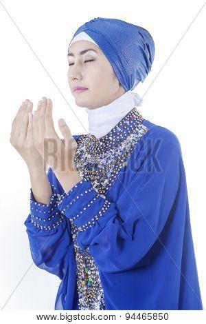 Muslim Woman With Pray Gesture