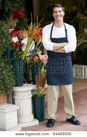 Portrait Of Male Florist Outside Shop