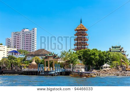 BANGKOK, THAILAND - CIRCA MAY 2014: Temple at Chao Phraya river in Bangkok, Thailand.