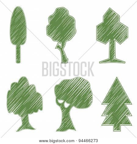 Trees, oak, spruce, bush, willow, symbolic icons