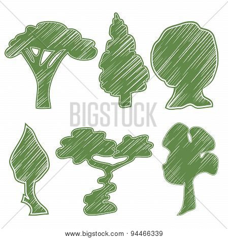 Trees, oak, pine, bush, willow, bansal, acacia, hazel symbolic icons