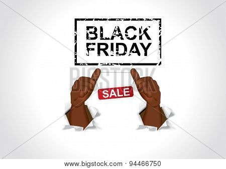 african american man poiting his thumbs to black friday sale banner