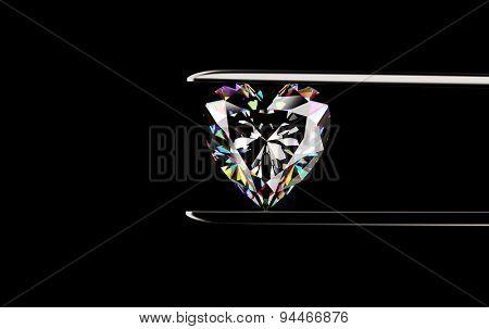 Heart shape Diamond in the tweezers on a black background