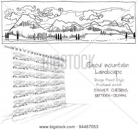Shower Curtain Snow Mountain Landscape