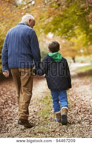 Rear View Of Grandfather And Grandson Walking Along Path