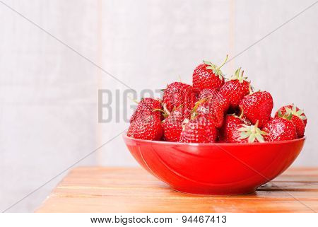 Strawberry Red Plate On The Table, Side View