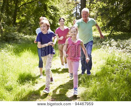 Multi Generation Family Running Through Summer Countryside