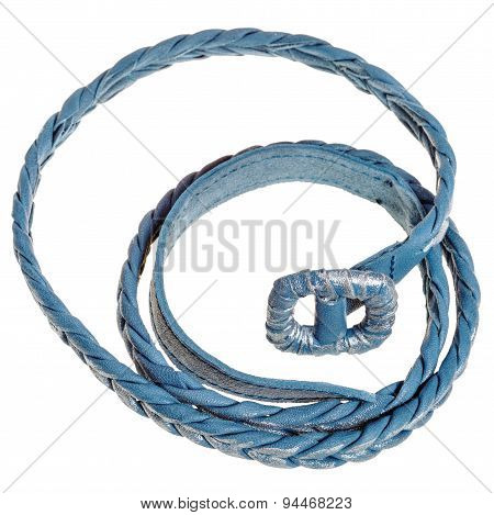Above View Of Coiled Blue Braided Leather Belt