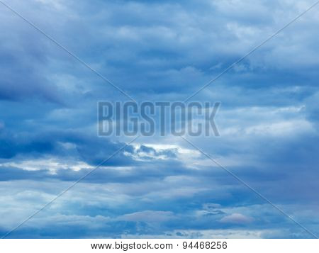 Dense Blue Overcast In Evening Sky