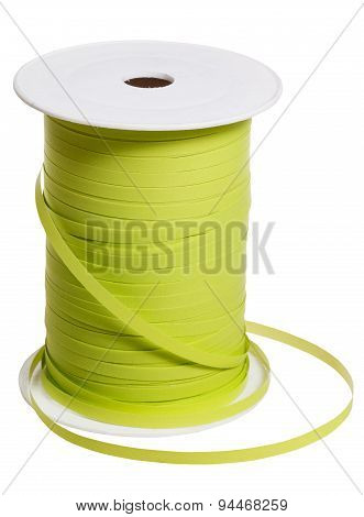 Plastic Reel With Green Packing Tape Isolated